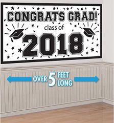 """2018"" White Grad 2018 Horizontal Banner"