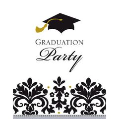 Black & White Grad Postcard Invitations, 50ct