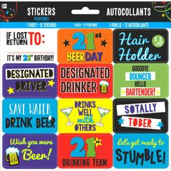 21st Brilliant Birthday Stickers