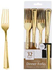 Gold Premium Plastic Dinner Forks, 32ct