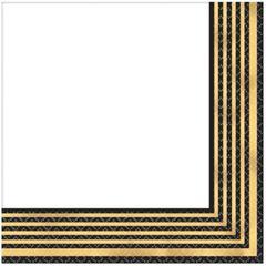Black & Metallic Gold Stripe Premium Lunch Napkins, 16ct