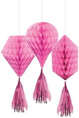 Mini Bright Pink Honeycomb Decorations with Tails, 3ct