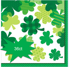 Blooming Shamrock Beverage Napkins, 36ct