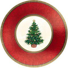"Classic Christmas Tree Metallic Plates, 7"""