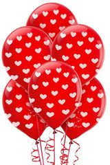 All-Over Print Heart Latex Balloon, 6ct