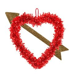 Heart Tinsel Decoration w/ Gold Arrow