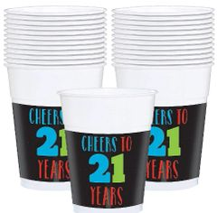 21st Brilliant Birthday Plastic Cups, 25ct