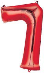 "34"" Red #7 Mylar Balloon"