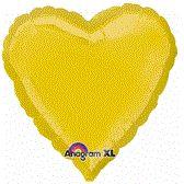 Heart 07 Yellow Mylar Balloon 18in
