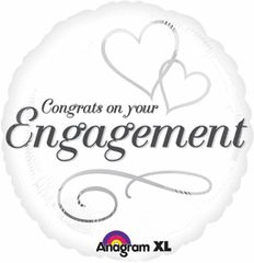 Two Hearts Engagement Balloon 18""