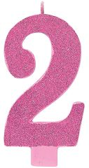 02 Giant Glitter Pink Number 2 Birthday Candle