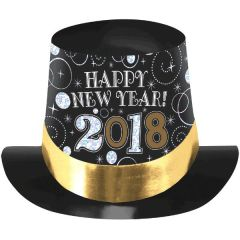 """2018"" New Year's Top Hat - Black, Silver, Gold"