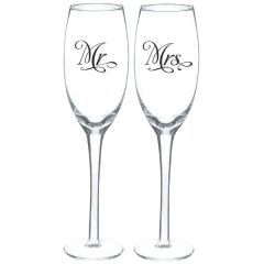 """Mr. And Mrs."" Toasting Glass"