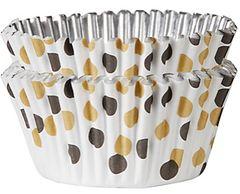 Black & Gold Polka Dot Foil Baking Cups, 48ct