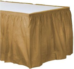 """Gold Solid Color Plastic Table Skirt, 14' x 29"""""""