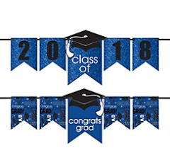 """2016-2019"" Grad Personalized Glitter Letter Banner Kit - Blue"