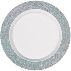 """White Prismatic Silver Border Premium Plastic Lunch Plates, 7 1/2"""" - 20ct"""