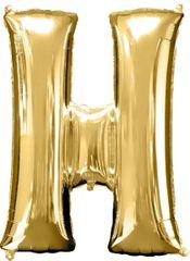 """Gold Letter H - 34"""" Mylar Balloon"""
