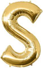 """Gold Letter S - 34"""" Mylar Balloon"""