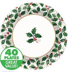 Large Seasonal Holly Value Plates 40ct