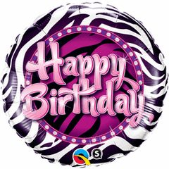 Happy Birthday Zebra Print Mylar 18in