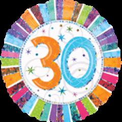 "Radiant 30th Birthday Balloon 18"""