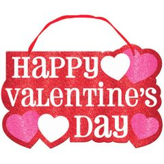 Happy Valentine's Day Sign with Ribbon Hanger