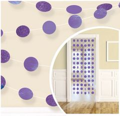 Glitter Purple Polka Dot String Decorations, 6ct