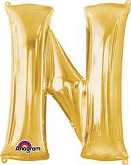 """Gold Letter N - 34"""" Mylar"""
