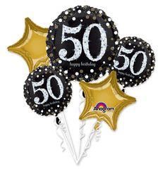 "Sparkling Celebration 50th Birthday Balloon Bouquet 32"""
