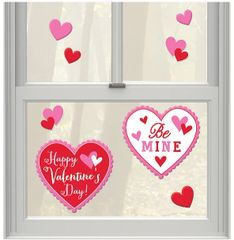Happy Valentine's Day Heart Gel Cling Decals, 8ct