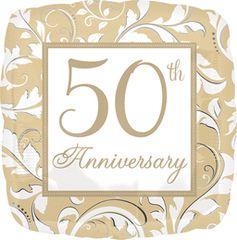 "Gold Scroll 50th Anniversary Balloon 18"""