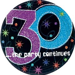 """The Party Continues 30th Birthday Plates, 9"""""""