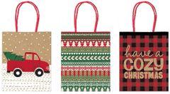 Kraft Christmas Gift Bags, 3ct