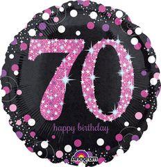 "Pink Sparkling 70th Birthday Celebration Balloon 18"""