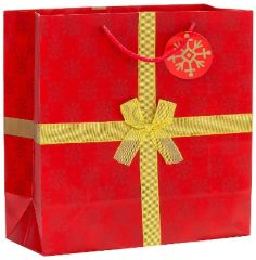 Red & Gold Bow Christmas Gift Bag
