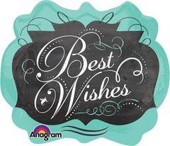 """Chalkboard Best Wishes-Super Shape Balloon 25"""""""