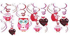 Valentine Woodland Friends Foil Swirl Decorations, 12ct