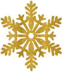 Large Gold Glitter Plastic Snowflake Decoration