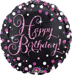 Pink Sparkling Happy Birthday Celebration Balloon 18""