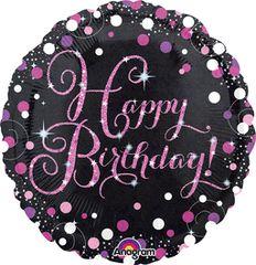"""Pink Sparkling Happy Birthday Celebration 18"""""""