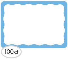 Blue Border Name Tags, 100ct