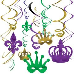 Mardi Gras Swirl Decoration Value Pack 12ct