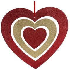 Glitter Spinning Heart w/ Ribbon Hanger