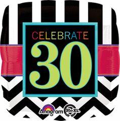 "Celebrate 30th Birthday Balloon 17"""