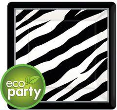 """Zebra Print Square Dessert Plates, 7"""""""