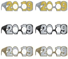 2019 New Years Glitter Glasses or Graduations Shades- Black, Silver, Gold, 6ct