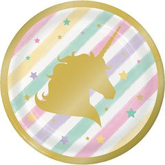 "Unicorn Sparkle Dessert Plates, 7"" - 8ct"
