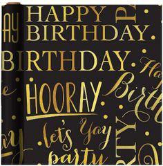 Gold Elegant Birthday Gift Wrap