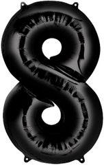 "34"" Black #8 Mylar Balloon"